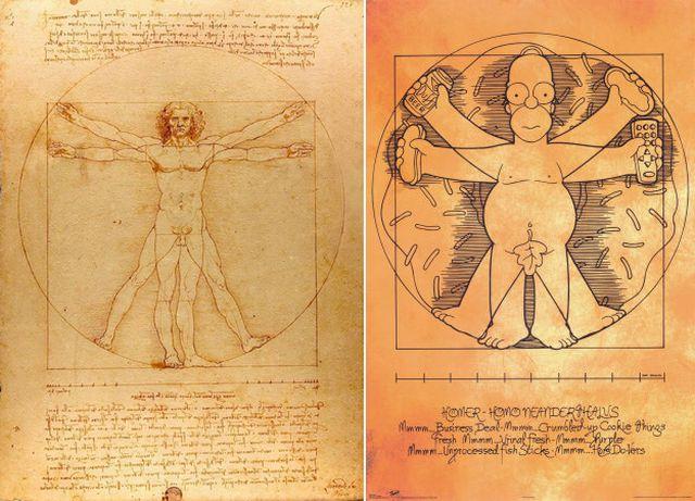 Витрувианский человек Леонардо да Винчи в современном исполнении (25 рисунков)