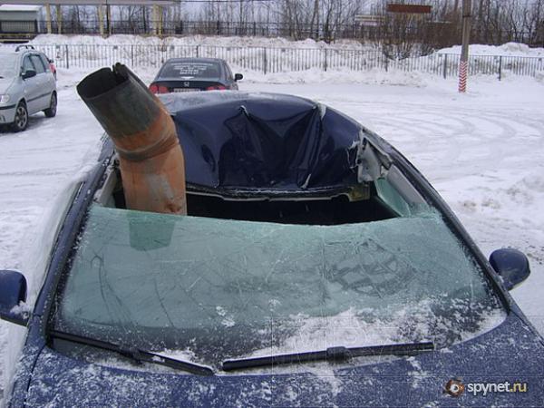 Зимний тюнинг авто с помощью водостока (5 фото)