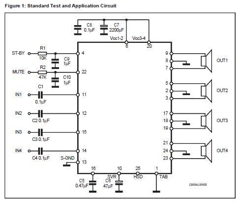 ...Вт Схема в полне простая такие МС используются в автомагнитолах.