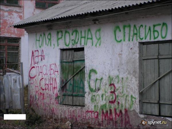 Надписи напротив роддома (3 фото)